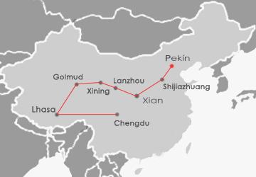 Mapa recorrido tren a Lhasa