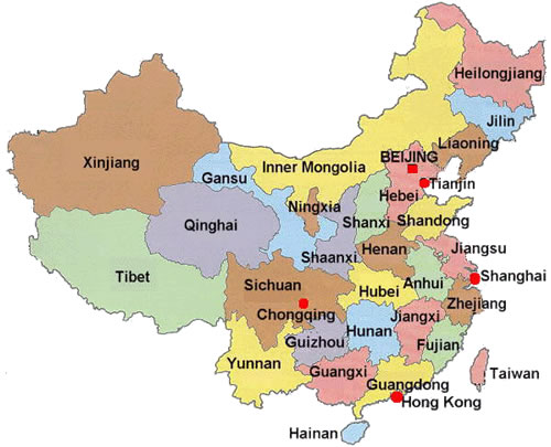 Ciudades De China Mapa.China Organizacion Territorial