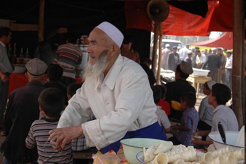 Vendedor de helados en el Bazaar de Kashgar