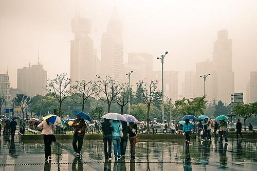 Lluvia en Shangai