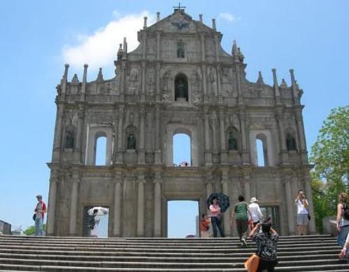 Fachada de las ruinas de la iglesia de São Paulo, en Macao