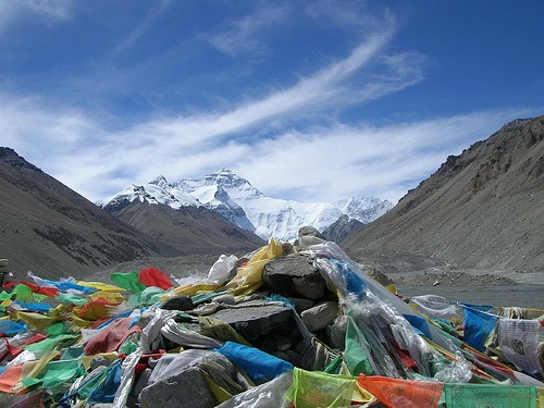 Banderas de oracion en la base del Everest